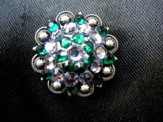 GREEN BLING CONCHOS HORSE BARREL RACING SADDLE HEADSTALL HORSE TACK