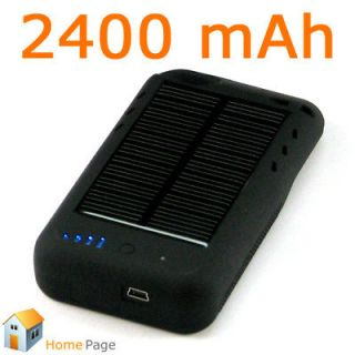 2400mAh Mini Black Solar Powered Portable Battery Charger Case for