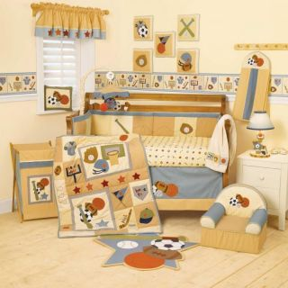 Sports Baby Boy Crib Bedding Set   Basketball Baseball Football Hockey