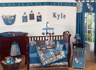 BLUE AND BROWN BEACH THEMED BABY BOY CRIB BEDDING COMFORTER SET ROOM