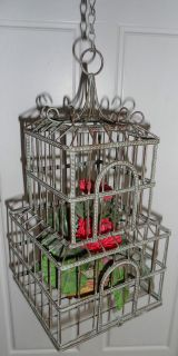 green rustic metal hanging bird cage with fake plant decor 16 tall