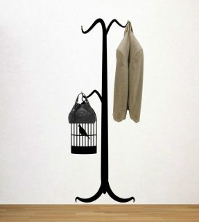 Coat Hanger with Bird Cage Wall Hooks Decal SUPER SIZE WALL DECORATION
