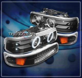 SILVERADO TAHOE SUBURBAN HALO LED PROJECTOR HEADLIGHT+BUMPER BLACK SET