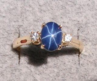 LINDE LINDY STAR SAPPHIRE CREATED COLOR CHOICE 14K YGP .925 STERLING