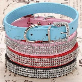 Adjustable Pet Cat Dog PU Leather Silver Rhinestone Buckle Neck Strap