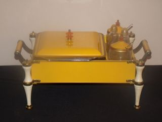 MIDCENTURY RETRO FIRE KING CASSEROLE YELLOW CHAFING DISH GREAT COLORS