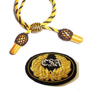 CIVIL WAR CONFEDERATE CSA BADGE & GOLD & BLACK SLOUCH COWBOY HAT CORD