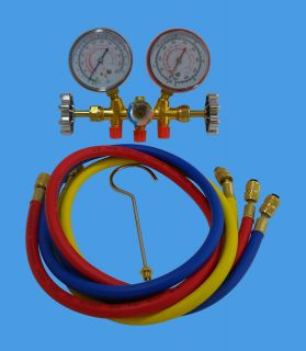 MANIFOLD GAUGE SET R12, R22 & R502 WITH SIGHT GLASS 36 HOSES