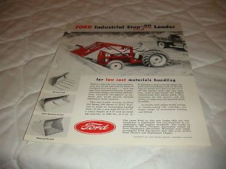 1956 FORD INDUSTRIAL STEP ON LOADER FOR FORD TRACTORS SALE BROCHURE