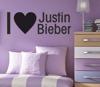 LOVE JUSTIN BIEBER   Wall quote art sticker   Kids bedroom decal