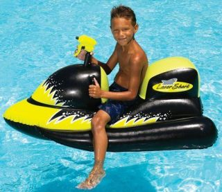 Swimline Laser Shark Ride On Inflatable Pool Float Toy with Squirt Gun