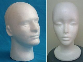 Styrofoam male or female white face hard MANNEQUIN Wig Head FOAM Model