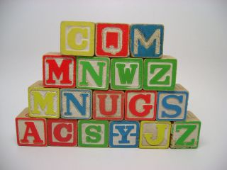 Vintage 18 Wooden Alphabet Building Blocks 2 is a Disney blocks