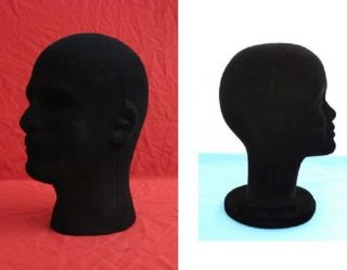 2pcs black male or female MANNEQUIN/ MANIKIN FOAM Styrofoam HEAD WIG