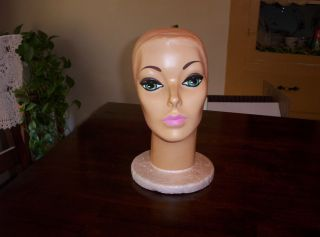 Vtg Retro Styrofoam Mannequin Head Wig Hat Store Display Stand w