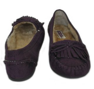 Soda Parry s Deep Purple Suede Comfy Moccasin With Faux Fur Lining