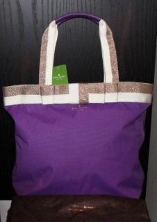 NWT Kate Spade Barrow Street Bon Shopper Tote Bag Violet Purple Laptop
