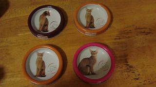 Set of 4 Royal Canin Kitty Cat Metal Pet Food Dishes W/ Photos Safer