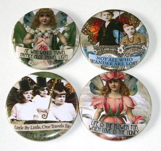WHIMSICAL FAIRY KIDS / SAYINGS Set of 4 Large FRIDGE MAGNETS