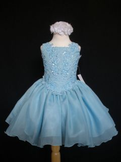New Baby Toddler Little Girl Glitz Pageant Formal Party Dress Aqua