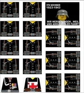 Lego WW2 German Soldiers Sticker Decals + extras black 16 custom