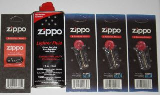 Genuine Zippo Flints, 1 Wick, and 4 oz Can Lighter Fluid FREE SHIP