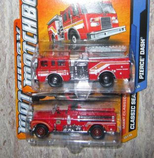Matchbox Fire Engines Trucks Classic Seagrave + PIERCE DASH MBX CUTY