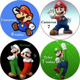 SUPER MARIO / PERSONALISED ROUND EDIBLE ICING SHEET CAKE TOPPERS