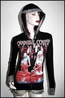 Corpse Heavy Metal Punk Rock DIY Metallic Zip up Hoodie Jacket Top