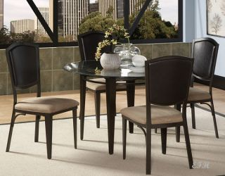 NEW 5PC ROCKDALE ROUND GLASS METAL DINING TABLE SET