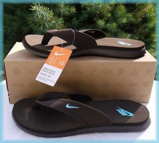 NIB NIKE Womens CELSO THONGS Flip Flops ~ Chocolate & Aqua ~ Size 10
