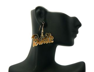 Nicki Minaj Inspired Mirror Polished Barbie Hook Post Earring Gold