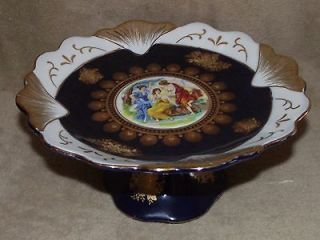 Antique porcelain cobalt blue gold hand paint ladies pedestal desert