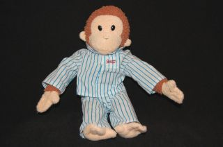 10 inch CURIOUS GEORGE PLUSH in BLUE and WHITE PAJAMAS PJs by APPLAUSE