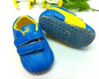 New PUMA Soft Sole Baby Boys Yellow/Blue Sneakers Crib Shoes. Age 0