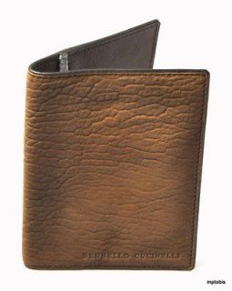 Brunello Cucinelli Brown Leather Bi fold Three Slot Passport Wallet