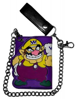 Wario Super Mario Bros Nintendo Video Game Trifold Wallet With Chain