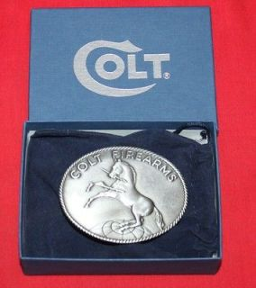 Colt Firearms Factory Rampant Colt Pewter Belt Buckle Mint in Box hj