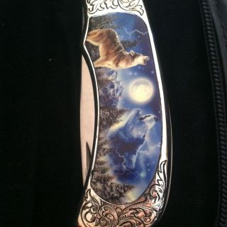 Franklin Mint Wolf Blue pocket knife with zipper case