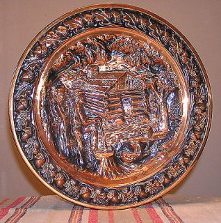 Vtg Repousse Copper Wall Hanging Plate/Plaque Made in USA by