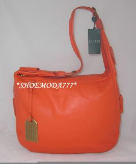 298 Ralph Lauren BALDWIN Large Zip Leather Hobo Bag Purse Orange
