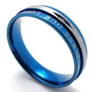 Silver BLESS OUR LOVE Stainless Steel Band Mens Ring Size 9 W20675