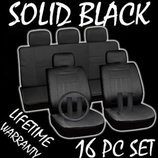Black Auto Car Seat Covers FREE Steering Wheel Belt Pads Head Rests