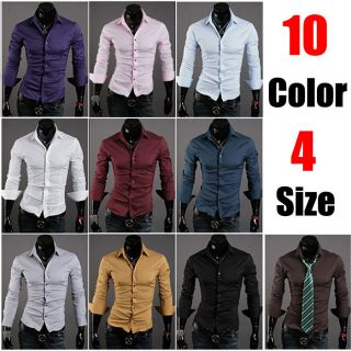 10 Colors Long Sleeves Fashion Style design Mens Slim fit Casual Dress