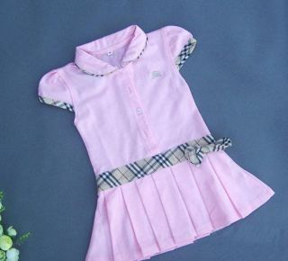 Baby toddler girl fashion pink tennis belt bow dress skirt clothes