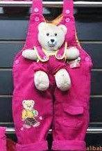 Baby toddler Pink Red Dungarees With Teddy Bear new