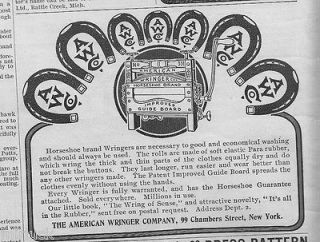 1901 Horseshoe Brand American Wringer Company for Washer Ad