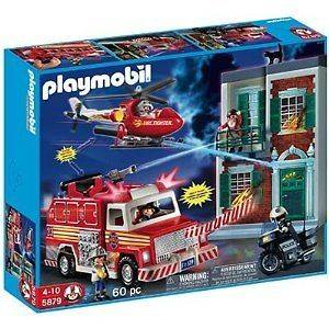Playmobil #5879 Fire Truck Helicopter Rescue Set New