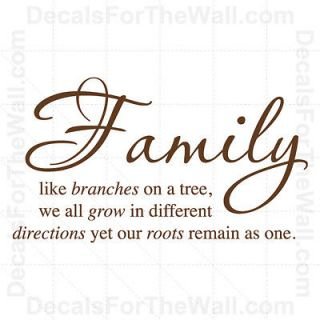 Family Like Branches on a Tree We All Grow Wall Decal Vinyl Sticker