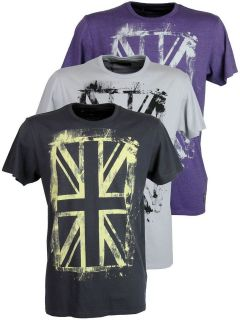 Mens Ben Sherman T Shirt Union Jack Discharge Print Short Sleeved Crew